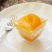 Orange Tapioca and Jello layered desert in a glass dish displayed on a white plate