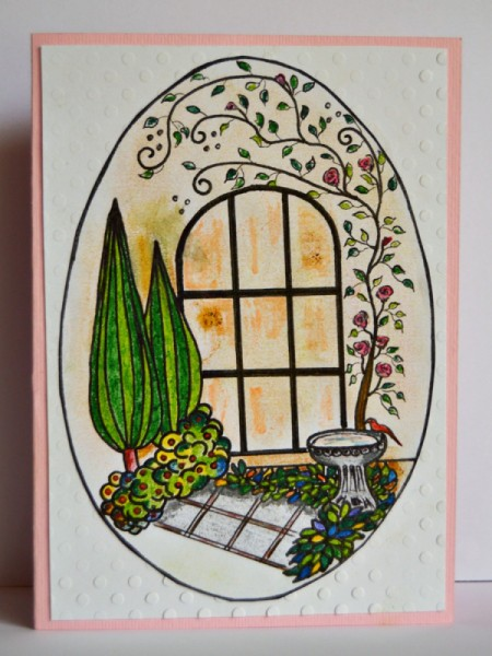 finished example of card showing a gardenscape