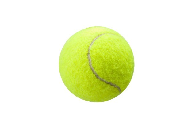 A single tennis ball on a white background
