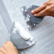 Trowel painting of concrete floor