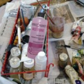 acetone, brushes, and paints
