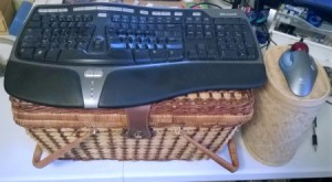 Using a Basket to Raise Keyboard