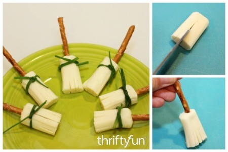 Making String Cheese Witch Brooms