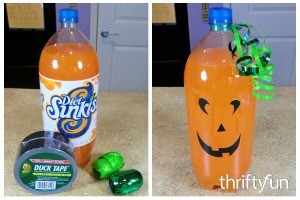 Making a Jack-O'-Lantern Soda Bottle