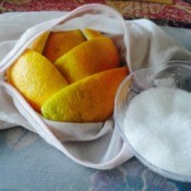 A bag of bath salt with oranges.