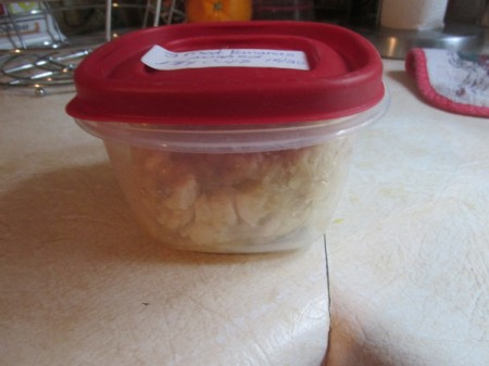 Mashed bananas in a sealed container.
