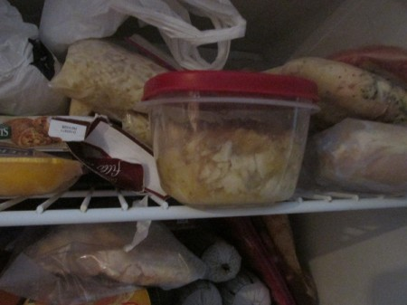 Mashed bananas in the freezer.