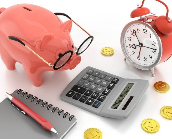 Piggy bank with glasses looking at a calculator.
