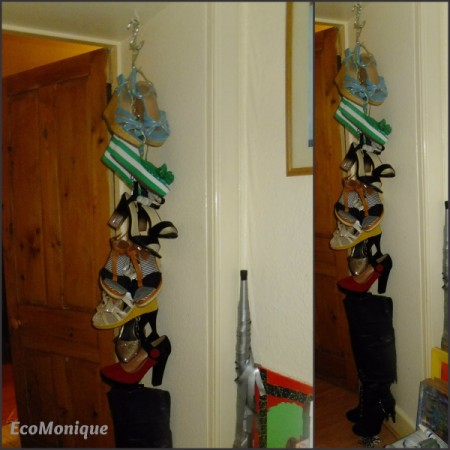 Shoes hanging on a chain.