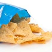 An open bag of tortilla chips.