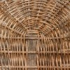 The bottom of a wicker basket.