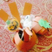 Turkey and pumpkin paper candy containers.