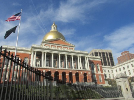 A building with a gold domed roof in Boston.