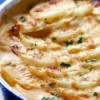 A pan of baked scalloped potatoes.