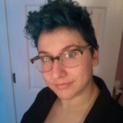 woman with hair that is dyed blue