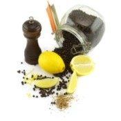 Ingredients for lemon pepper seasoning.