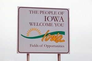 The welcome sign for entering Iowa
