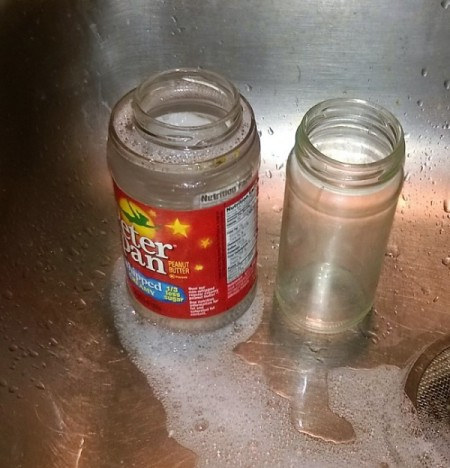 larger soaking jar, smaller jar with label removed