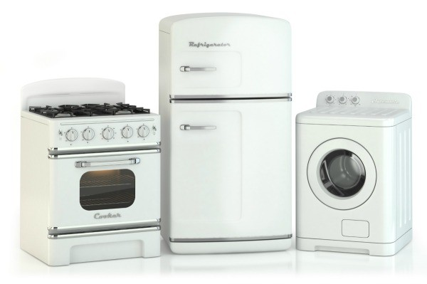 Three vintage appliances in white.