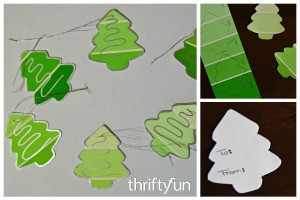 Making Christmas Tree Gift Tags From Paint Swatches
