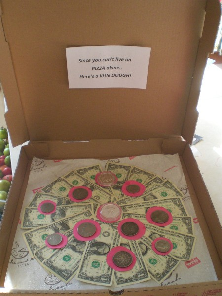 Pizza Box Cash Gift
