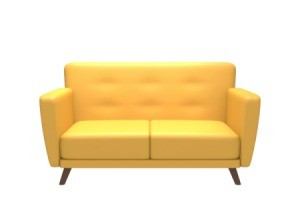 A bright yellow couch on a white background.