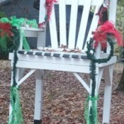 large white chair decorated for Christmas