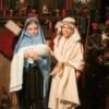 Children dressed for a Christmas pageant.