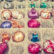 A box of old Christmas Ornaments