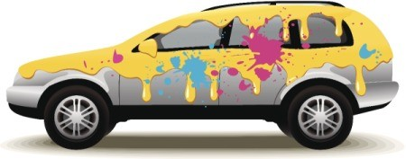 car with numerous paint splats