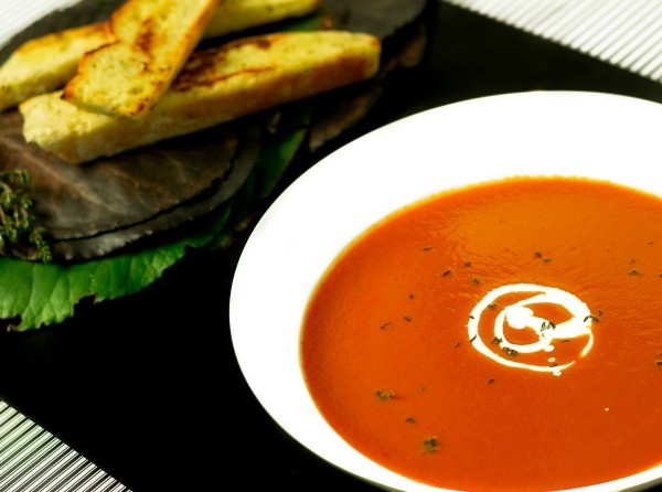 bowl of red pepper soup
