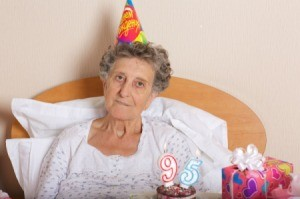 A woman celebrating her 95th birthday.