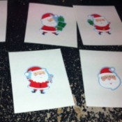 Christmas Santa sticker game cards