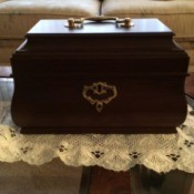 Williamsburg replica tea chest at estate sale.