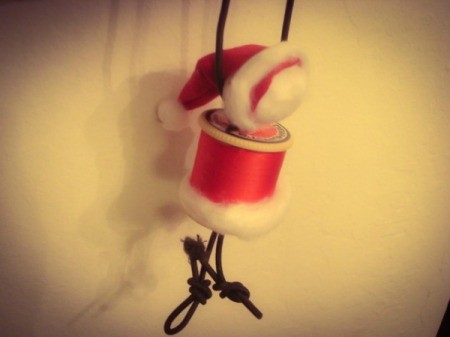 Spool Santa Ornament - finished and hanging by the string