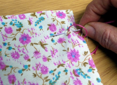 Fabric and Button Tic-Tac-Toe Game - sew 2 lines of back stitch using your embroidery needle and floss