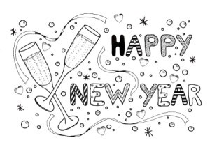 New Year Celebration Adult Coloring Page - design is two flute glasses, streamers, confetti and the words Happy New Year