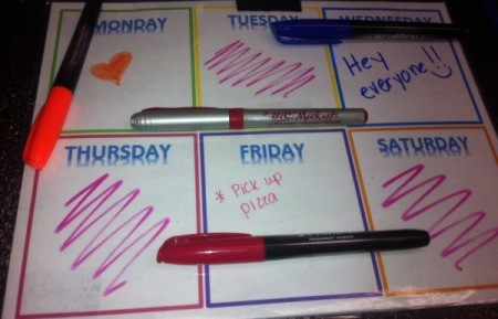 Erasing Permanent Marker from Laminated Paper - laminated calendar with markers and writing