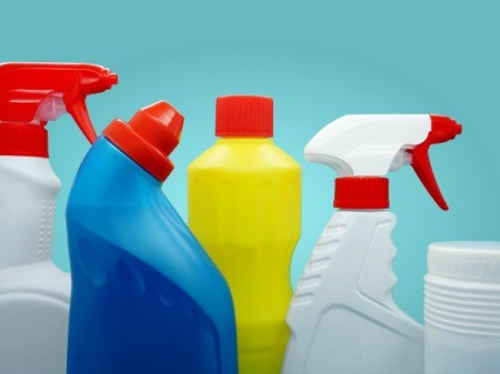bottles of cleaners