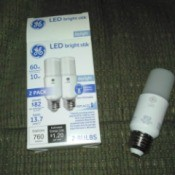 A package of low energy replacement LED bulbs.
