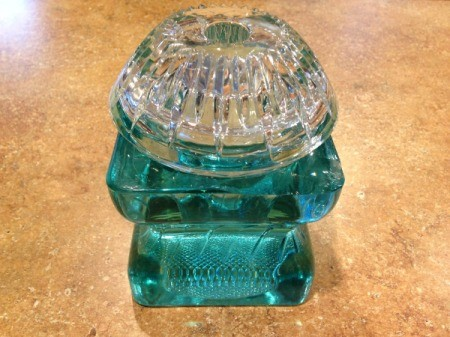 Thriftstore Glass Garden Tower - clear glass candleholder glued down onto the blue cylinder candleholder base