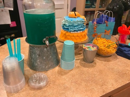 Blue Party Punch - party lay out with blue cups and clear ones with lids