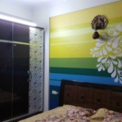 Curtain Color Advice for Multi-colored Wall - wall with horizontal blue, green, and yellow stripes