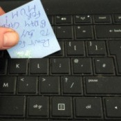 Post-it Note For Cleaning Keyboard - cleaning under keys on keyboard with Post-it Note