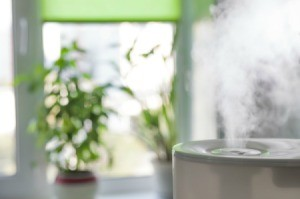 A humidifier blowing steam.