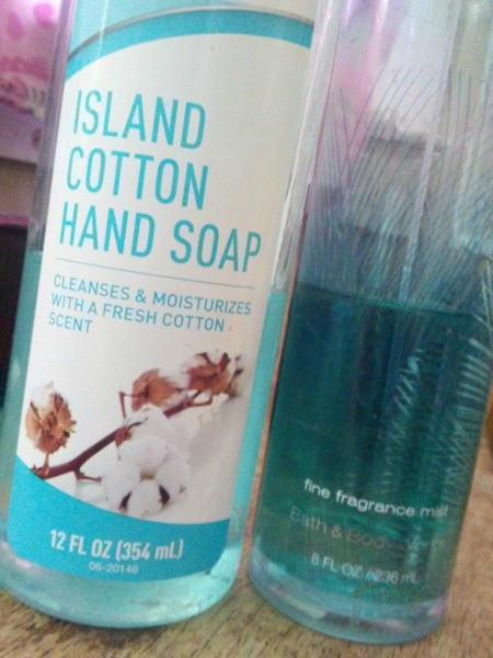 A bottle of Island Cotton hand soap, next to the similar fragrance at Bath and Body Works.