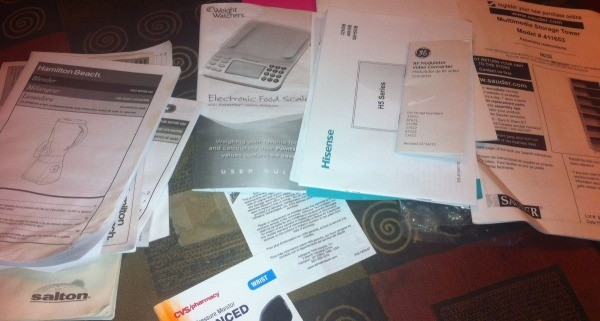 Organizing Home Instruction Manuals - scatter of manuals