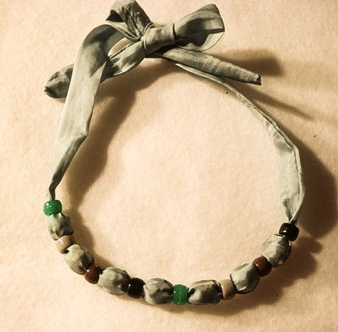 Bead and Fabric Necklace - finished necklace with ends tied