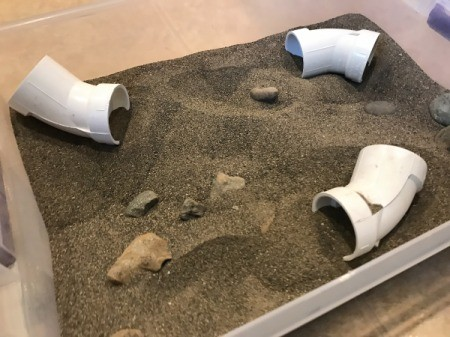 Indoor Sandbox -optional additions, rocks for boulders, PVC pipe joints for tunnels