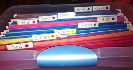 Sorting Construction Paper by Color - file box filled with labeled folders